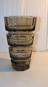 SMOKEY QUARTZ MOSER HOFFMAN ART DECO GLASS VASE