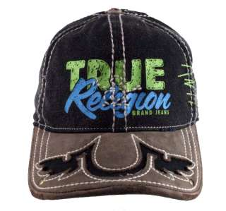 True Religion brand Jeans A FLEX wings cap hat Black or Army leather