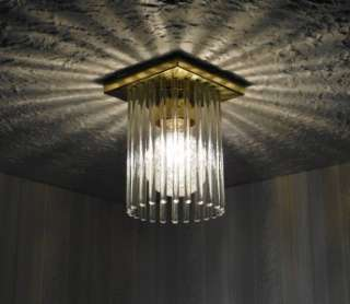 Vintage Retro Art Deco Mid Century Modern GLASS ROD Chandelier Light