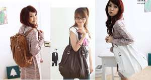 New Korean Style Fashion lady 2 Ways PU Leather Backpack Purse Handbag