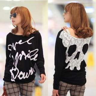 Girls Skull Letter Printing T shirt Womens Clothes Sleeved Lace Both