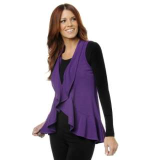 IMAN Global Chic The Must Have Flowing Ruffle Knit Vest