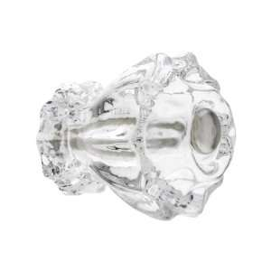 Medium Fluted Clear Glass Cabinet Knob With Nickel Bolt