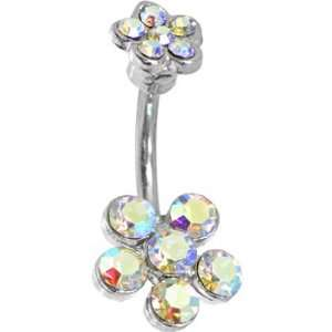 Aurora Double Gem Flower Belly Ring Jewelry