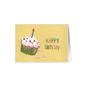 happy birthday, 45 ?, one candle on cupcake, humorous Card  Toys