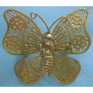 Beautiful Gold Tone Thin Butterfly Brooch Pin