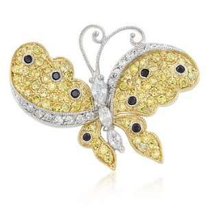 14K Gold and White Gold Bonded Butterfly Brooch Pin with