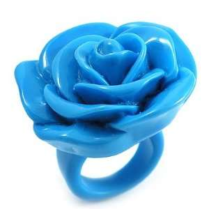Light Blue Chunky Resin Rose Ring   size 7 Jewelry