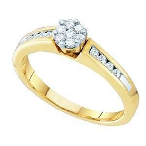 10k Yellow Gold Cluster Flower Engagement Ring SeaofDiamonds Jewelry