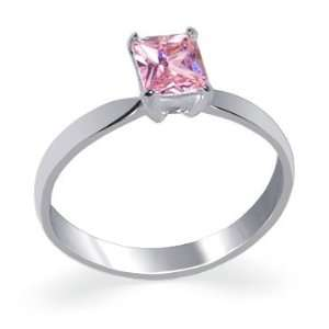 Silver Band Emerald Cut Pink Cubic Zirconia Ring Size 5 Jewelry