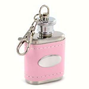 Pink Genuine Leather Key Chain Flask