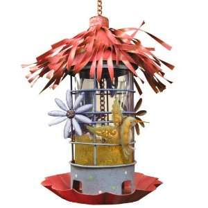 Red Metal Hummingbird Bird Feeder Patio, Lawn & Garden