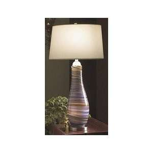 SHD 2 Light Purple Art Glass Table Lamp With Night Light, White Shade