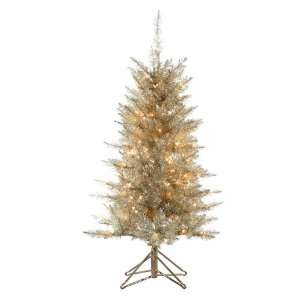 com 4 Pre Lit Platinum Gold Tiffany Tinsel Artificial Christmas Tree