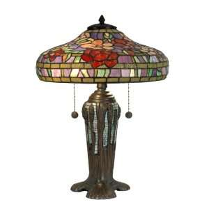 TT90422 Tiffany Table Lamp, Dark Antique Bronze and Art Glass Shade