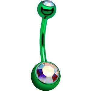 Green Aurora Double Gem Anodized Titanium Belly Ring Jewelry