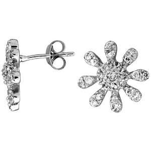 Sun Post Earrings, Rhodium Plated w/ High Quality CZ Stones Jewelry