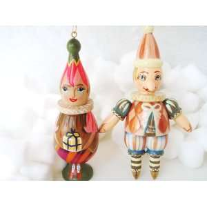 Russian Handcrafted Wooden Doll Holiday Christmas Ornaments