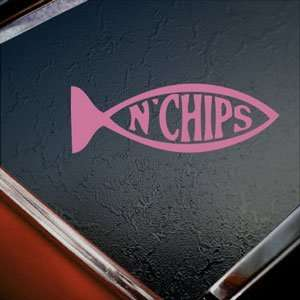 Fish N Chips Evolution Pink Decal Truck Window Pink