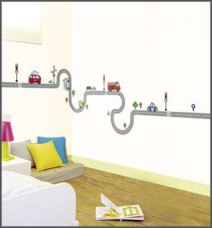 Car Road Kids Wall Art Decals Peel & stick Decor Stickers