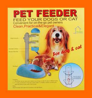 Plastic Blue Water Food Bottle Feeder Dish Stand Pet Dog CAT Feeding