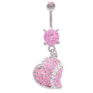 Pretty Pink Many Gem Paved Heart dangle Belly navel Ring piercing bar