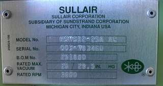 Nice 1140 hour 25hp Sullair Rotary Vacuum Pump RSVS 12